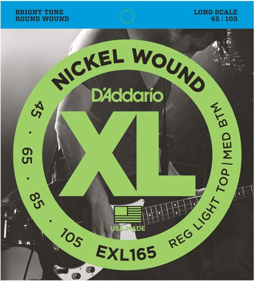 D`Addario EXL165 Regular Light Top/Medium Bottom Nickel Wound Long Scale Electric Bass Strings EXL165