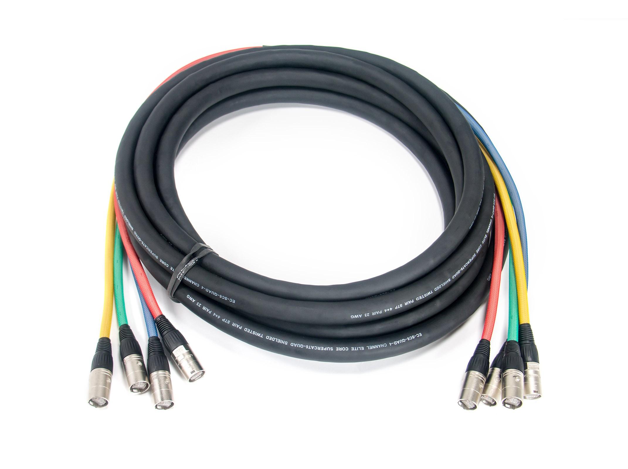 Elite Core Audio SUPERCAT6-QUAD-FAN 50 ft Shielded Quad CAT6 Cable with 2 ft Fantails and Tactical Lock Ethernet Connectors SUPCAT6-QUAD-FAN-50