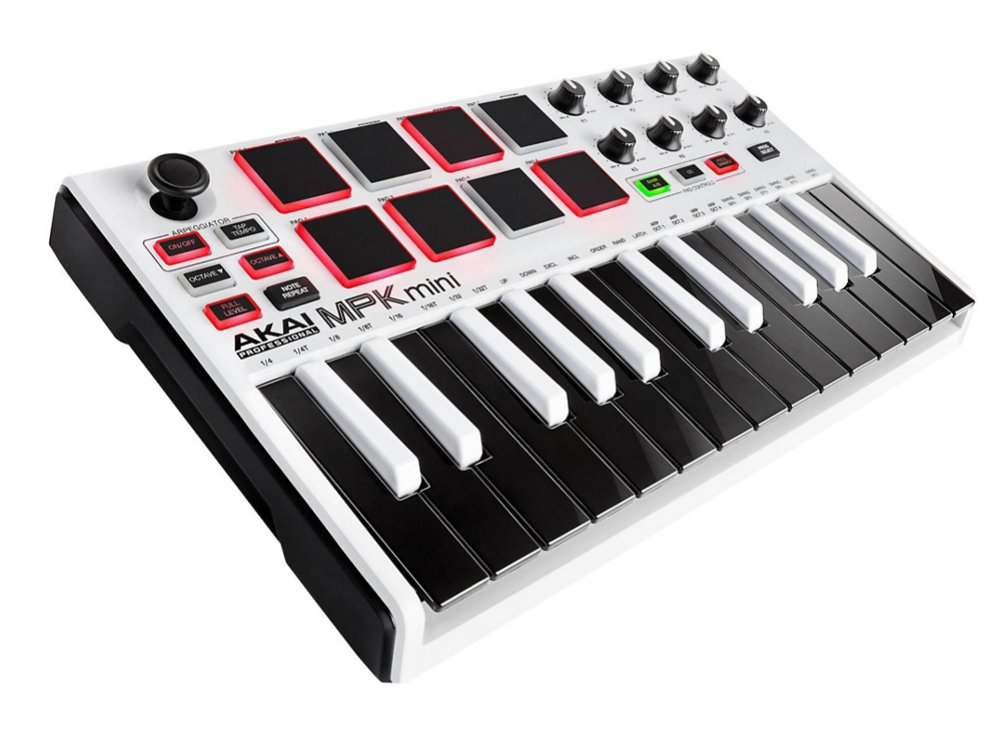 akai mpk mini mkii compact 25 key midi keyboard controller with pads in white full compass. Black Bedroom Furniture Sets. Home Design Ideas