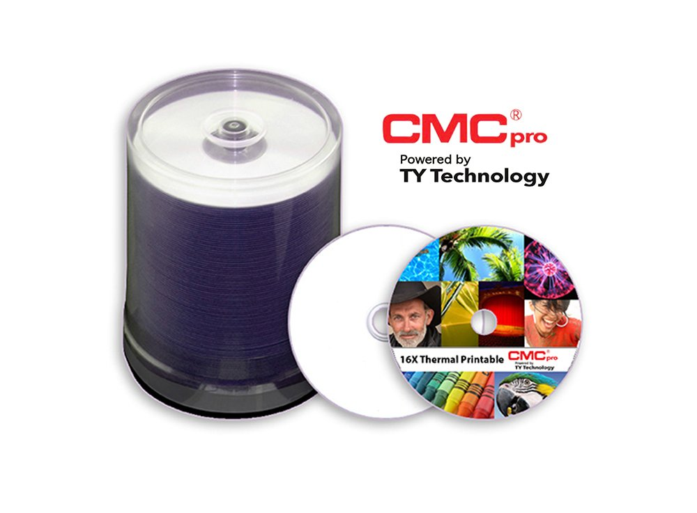 CMC Pro DVD-R, 4.7GB, 16X, White Thermal (Prism Only), 100-Disc Cakebox