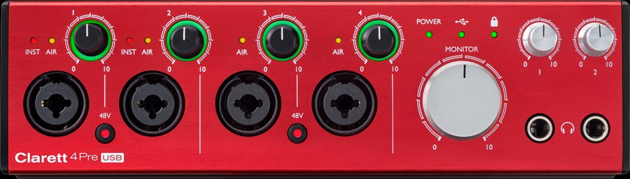 Focusrite Clarett 4Pre USB 18-In, 8-Out Audio interface for PC and Mac CLARETT-4PRE-USB