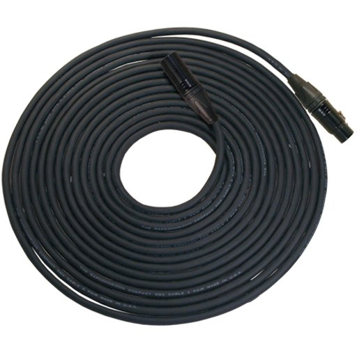 150 ft. 3-Pin DMX Lighting Cable with 1-Pair Cable, 24 Gauge Conductors, Neutrik XLR Connectors