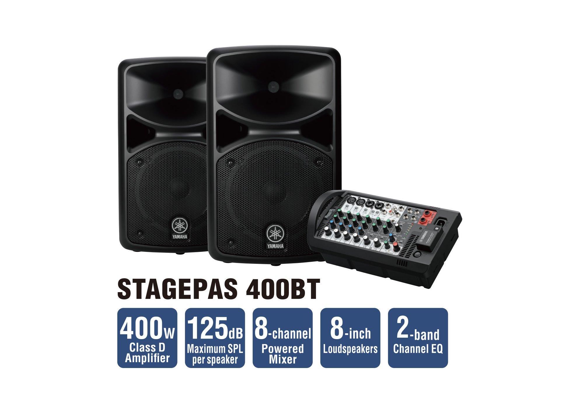 yamaha stagepas 400bt 400w 8 channel portable pa system. Black Bedroom Furniture Sets. Home Design Ideas