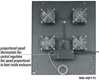 """Integrated Fan Rack top for EKR/SCRK racks, 550 cfm, one 10"""" fan"""