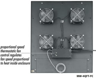 "Integrated Fan Rack Top for WRK, MRK, DRK, VRK, VMRK Racks, 200 CFM with four 4.5"" fans"