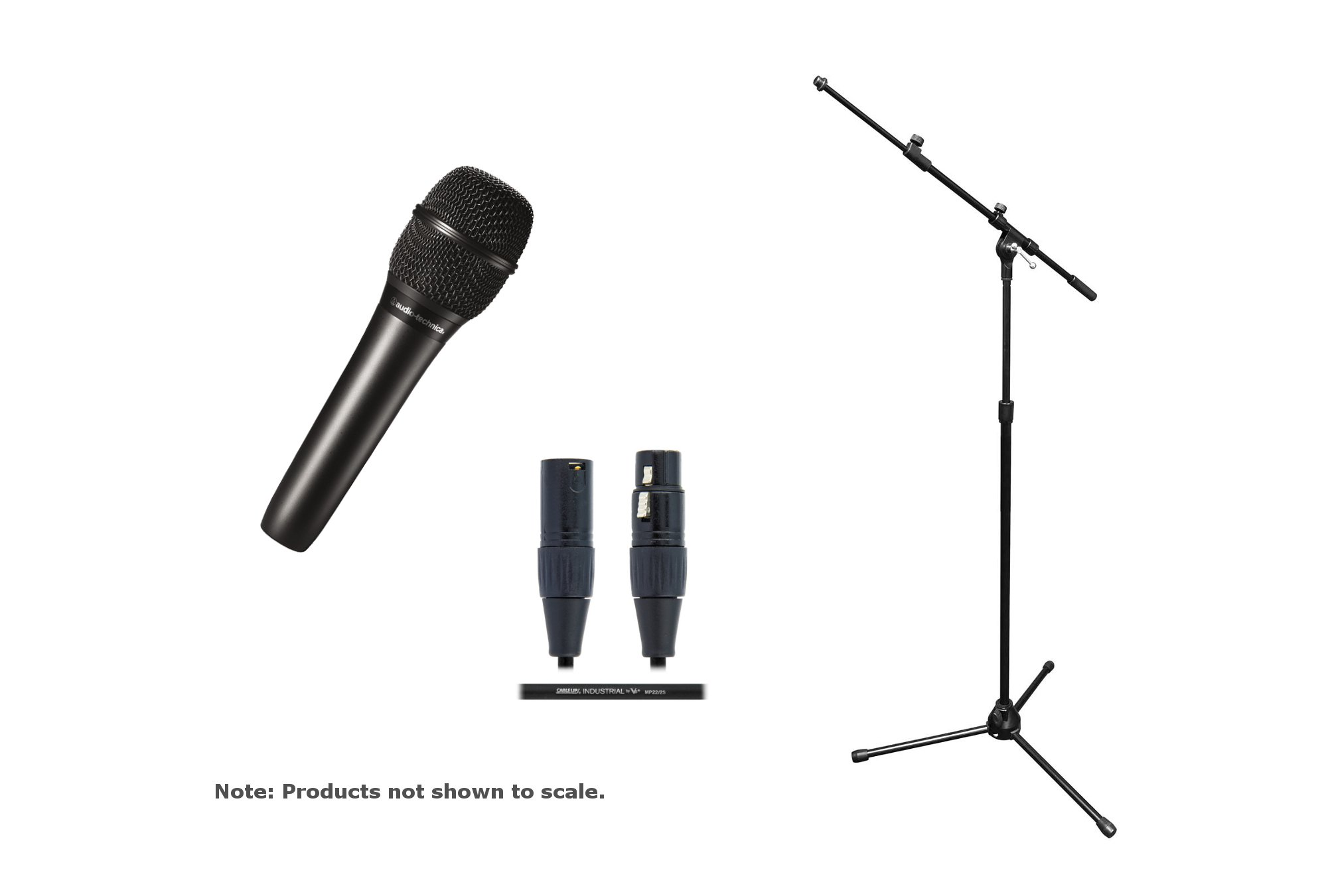 Audio-Technica AT2010 / Stand / Cable Bundle AT2010 Mic with Tri-pod Mic Stand/Boom & 20ft Cable AT2010-SOLO-K
