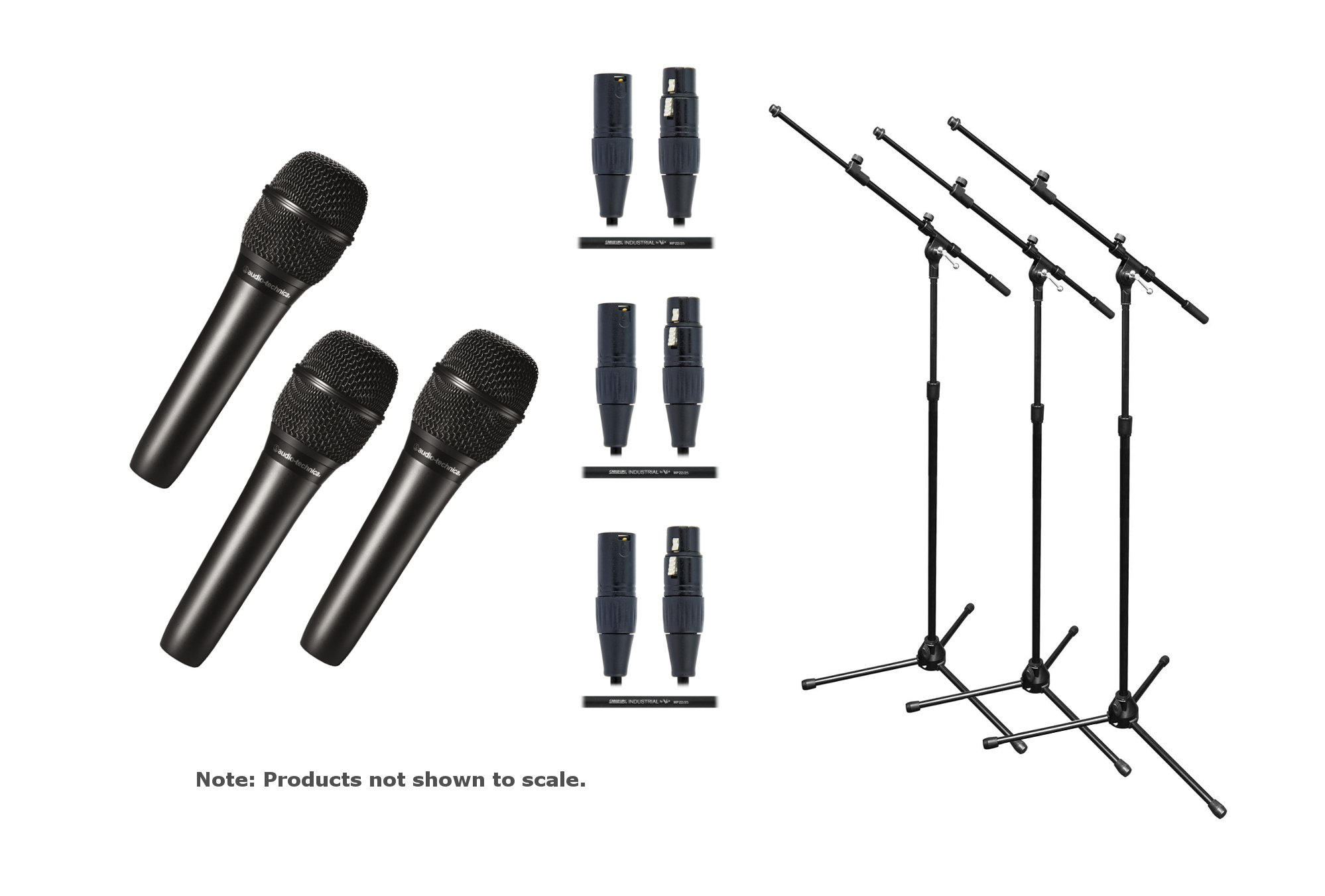 Audio-Technica AT2010 / Stand / Cable Tri-Bundle (3) AT2010 with (3) Tri-pod Mic Stands and (3) 20ft Cables AT2010-TRIO-K