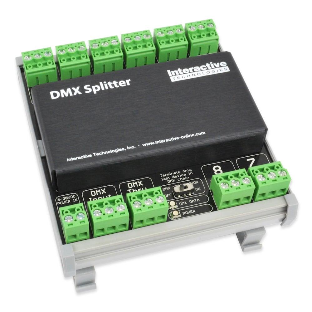 8 port din rail mount dmx splitter by interactive technologies it
