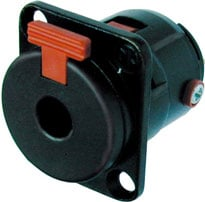 """3-conductor 1/4"""" Female Panel Phone Jack, Black Housing, Gold Contacts"""