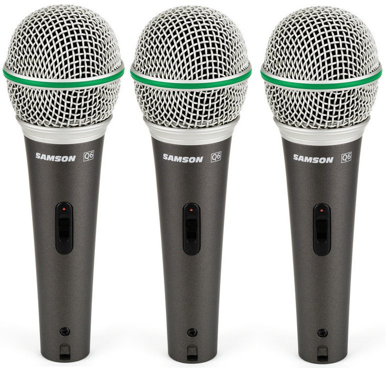 Samson Q6 3-Pack of Q6 Dynamic Supercardioid Handheld Microphones Q6-DYNAMIC-3PK