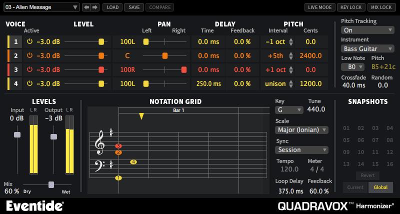 Eventide QUADRAVOX Quadravox [DOWNLOAD] 4-Voice Diatonic Pitch-Shifter  Plug-In | Full Compass