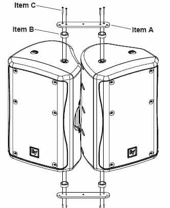 Array Bracket Kit for Two EV ZX5 Loudspeakers, Black Finish
