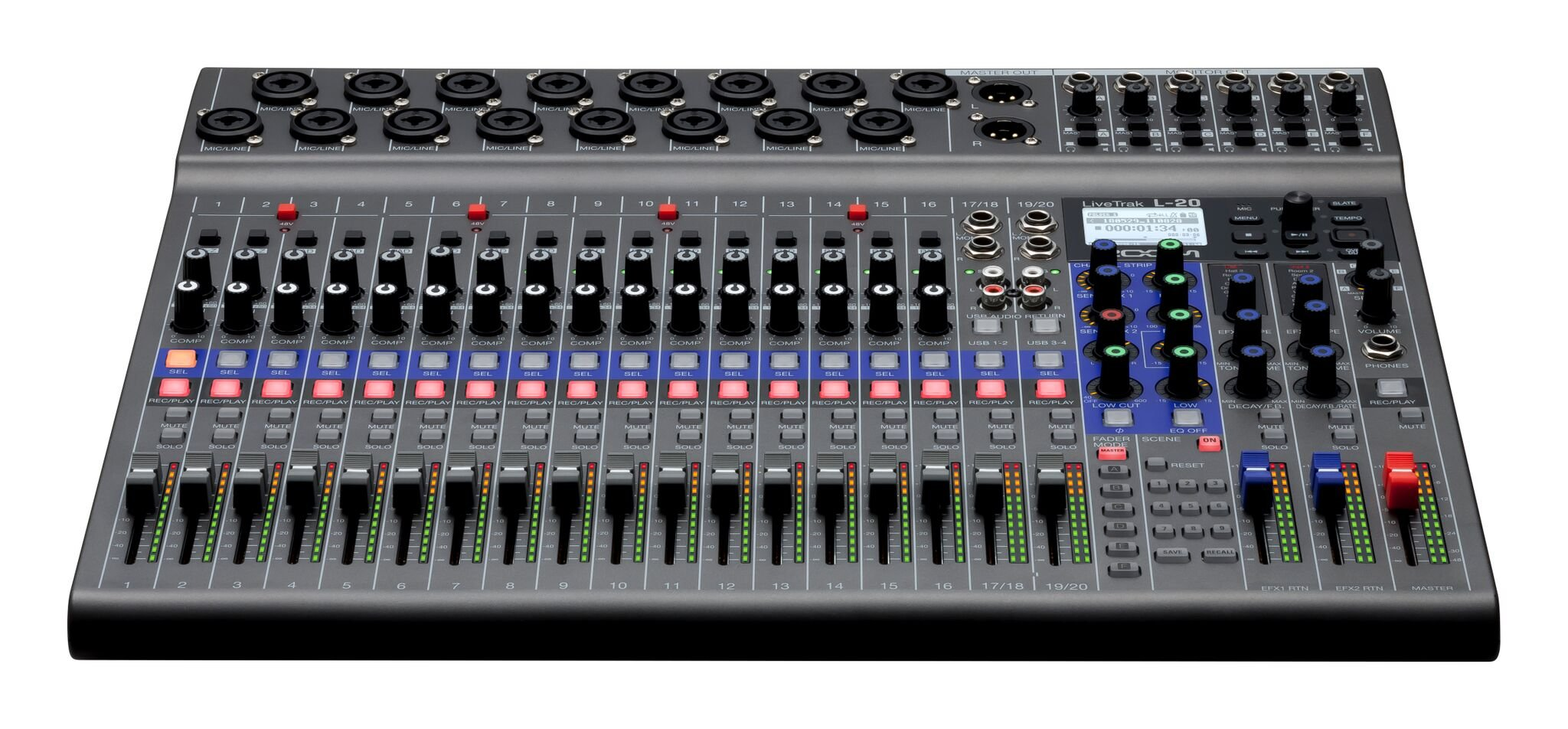 zoom l 20 20 channel digital mixer recorder and usb audio interface full compass systems. Black Bedroom Furniture Sets. Home Design Ideas