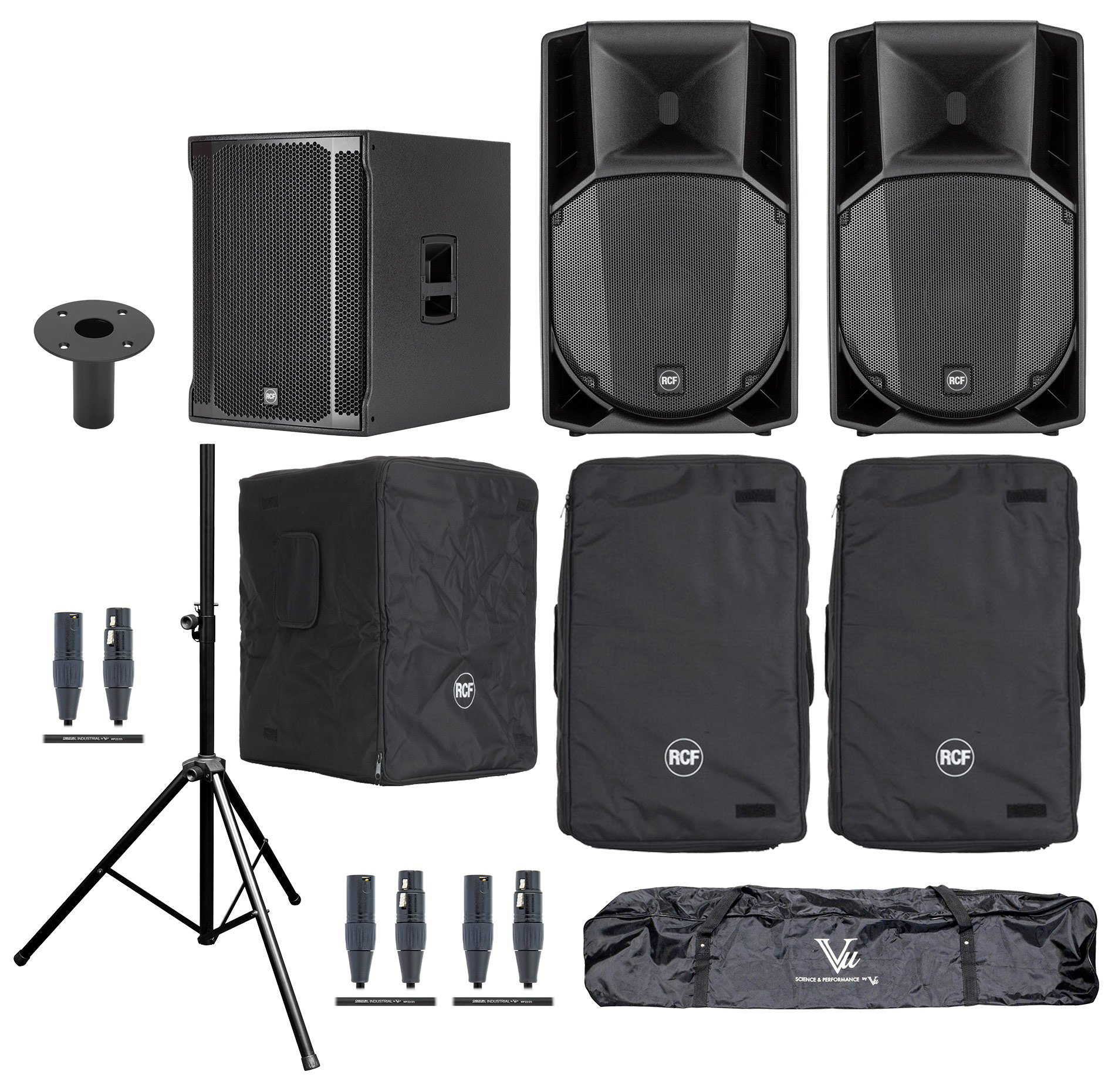 RCF ART-745A-SUB-K Speaker and Sub Bundle with ART 745A Speakers, SUB  8003-AS II Subwoofer, Covers, Stands and Cables | Full Compass