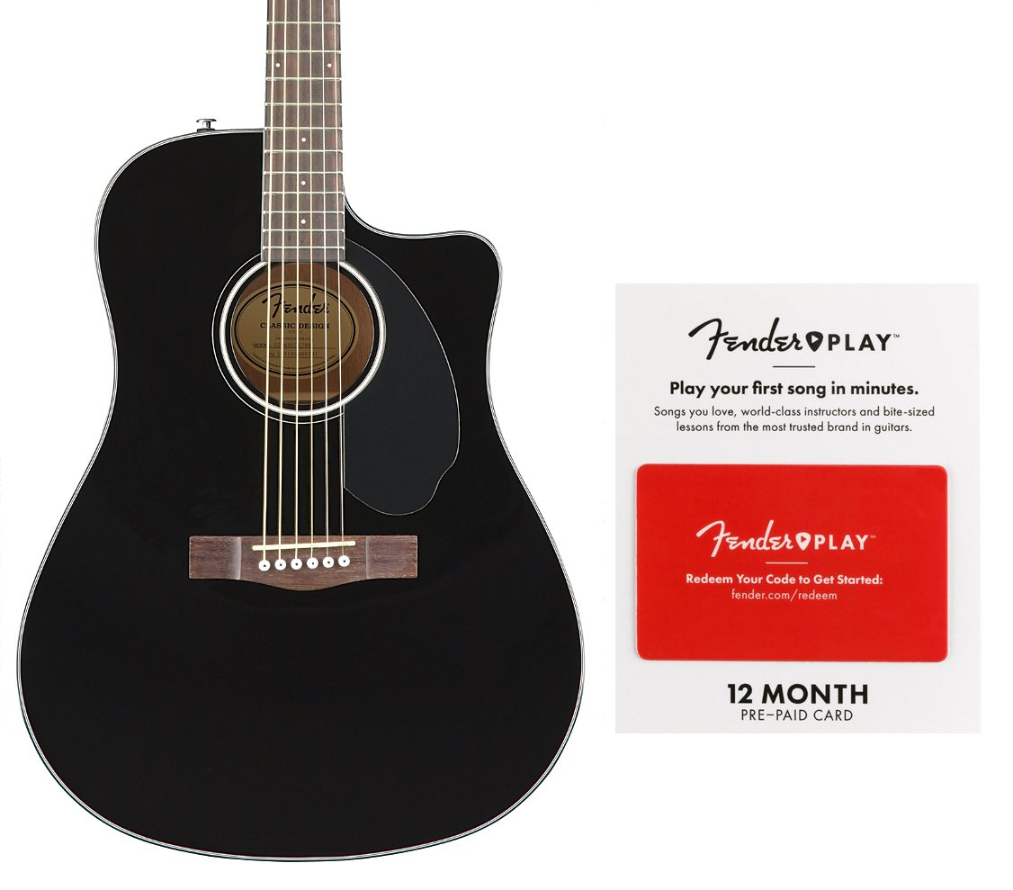 fender cd 60sce blk play acoustic electric guitar with 12 month fender play card full compass. Black Bedroom Furniture Sets. Home Design Ideas