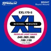 2 Pack of Regular LIght Nickel Wound Long Scale 5-String Electric Bass Strings