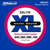 2 Pack of Regular LIght Nickel Wound Long Scale Electric Bass Strings