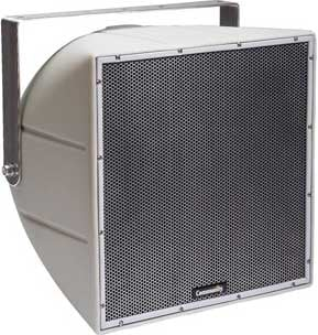 """12"""" 2-Way Horn-Loaded Weather-Resistant Coaxial Speaker in White with 90° H x 90° V Dispersion and Yoke"""