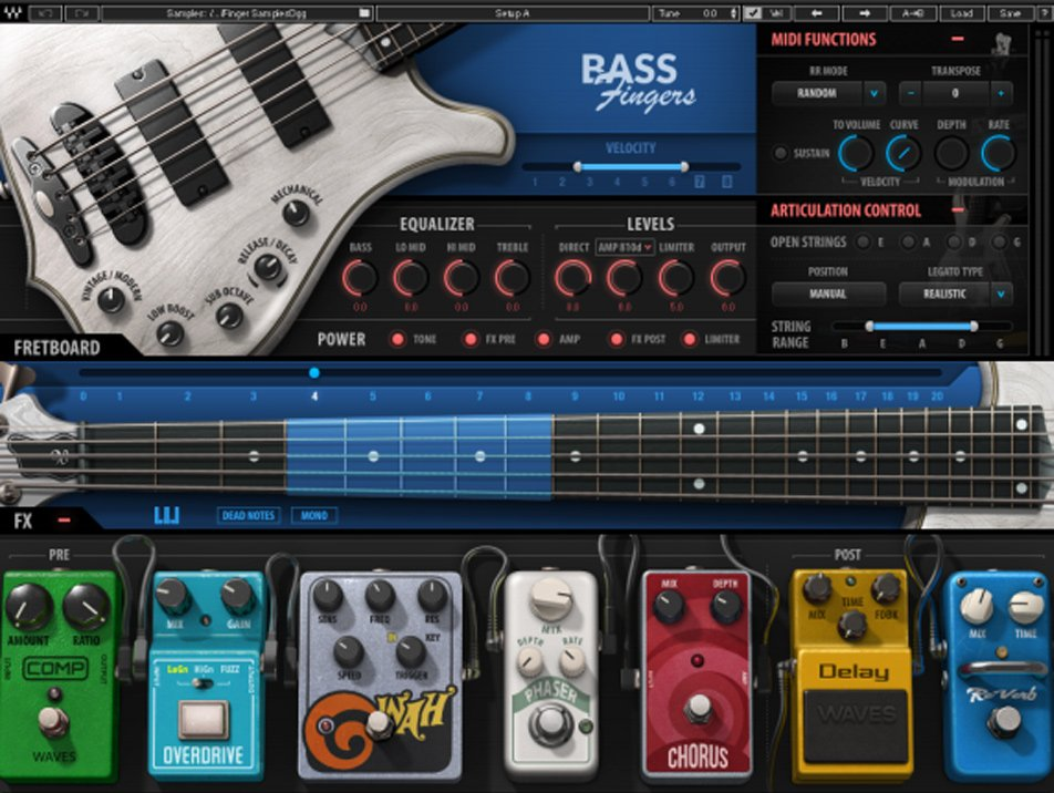 Waves Bass Fingers BSFNG Virtual Fingerstyle Bass Sample Library with 8  Velocity Layers and 5-String Articulation [Download] | Full Compass