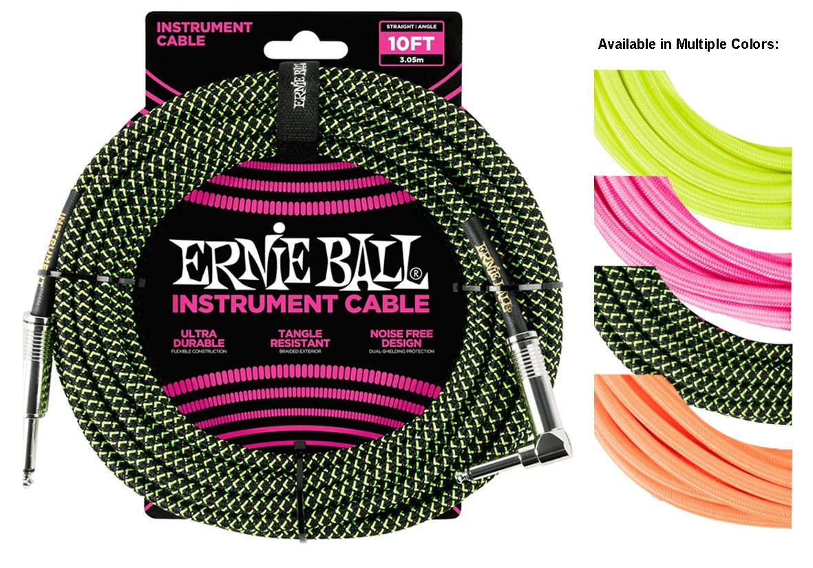 Ernie Ball 10/' Braided Straight Angle Instrument Cable Neon Yellow P06080