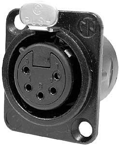 Neutrik D-Series 5-pin XLR Locking Female Connector, Panel Mount