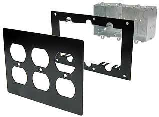 Triple Duplex Switch Box, Steel Mounting Panel, Aluminum Triple Duplex Cover