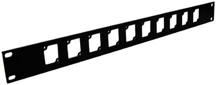 Aluminum Rack Panel, 1 RU, Black, 10 Connectrix Connectors