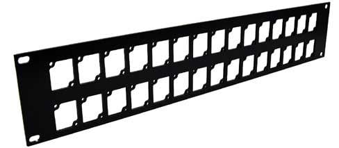Ace Backstage Co. RPL230 Aluminum Rack Panel, 2 RU, Black, Mounts 30 Connectrix Connectors RPL230