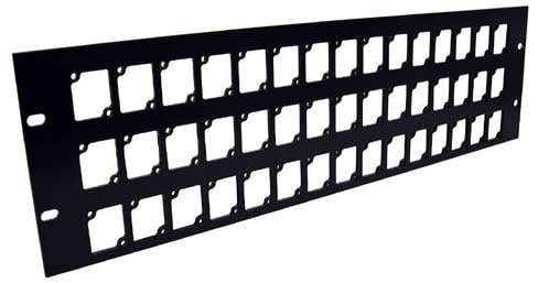 Aluminum Rack Panel, 3 RU, Black, Mounts 45 Connectrix Connectors