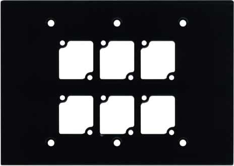Triple Gang Wall Panel with 6 Connectrix Mounts, Black
