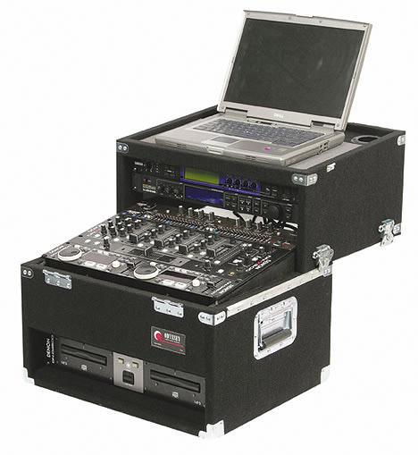 Odyssey CSL2802 Carpeted Slide-Style CD/Laptop DJ Case, 2 RU + 8 RU + 2 RU CSL2802