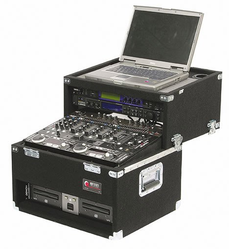 Carpeted Slide-Style CD/Laptop DJ Case, 2 RU + 8 RU + 2 RU