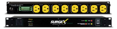 surgex sx1120rt 8 outlet surge eliminator and power conditioner with remote 1 rack unit 20a. Black Bedroom Furniture Sets. Home Design Ideas