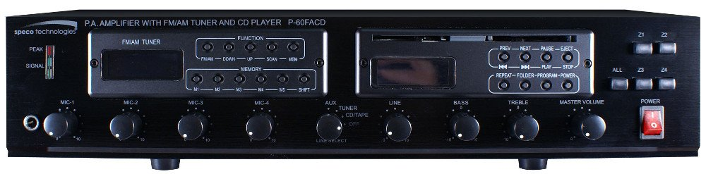 60-Watt PA Amplifier with FM Tuner and MP3-Ready CD Player