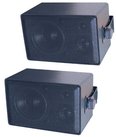 "Pair of 4"" Weatherproof 3-Way Mini Installation Speakers"