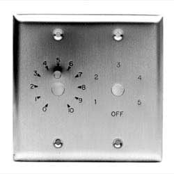 Double Gang S/S Plate with Dial Scale for Attenuator and 6 Position Rotary Switch