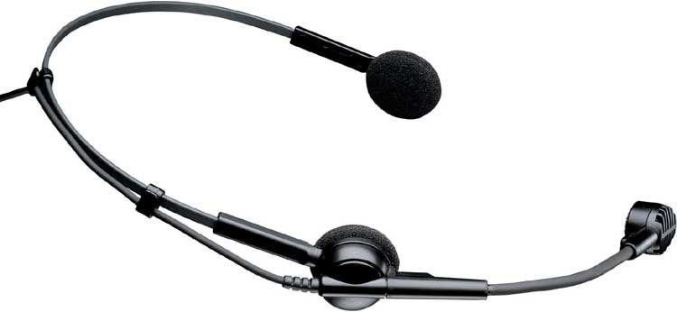 "Headworn Condenser Microphone for Wireless, Less Power Module, Unterminated 55"" Cable"