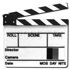 White Director Slate w/Yellow&Green Stk