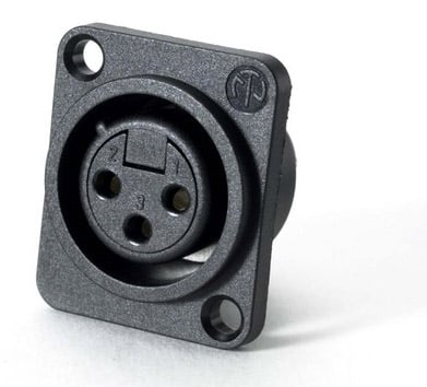 3-Pin Plastic XLR-F Panel Receptacle