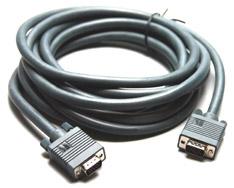 15-Pin Male HD to 15-Pin Male HD (VGA) Cable, 1 Feet