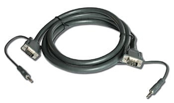 "A/V Cable, 15-Pin to 15-Pin VGA & 1/8"" Male to 1/8"" Male, 15 Feet"