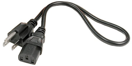 Power Cord, IEC C13 to NEMA 5-15P, 1'