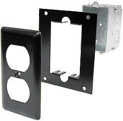 Electic Duplex Switch Box, Steel Mounting Panel, Steel Narrow Duplex Cover