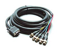 15-pin HD Male to 5-BNC Male Breakout Cable, 1 Foot