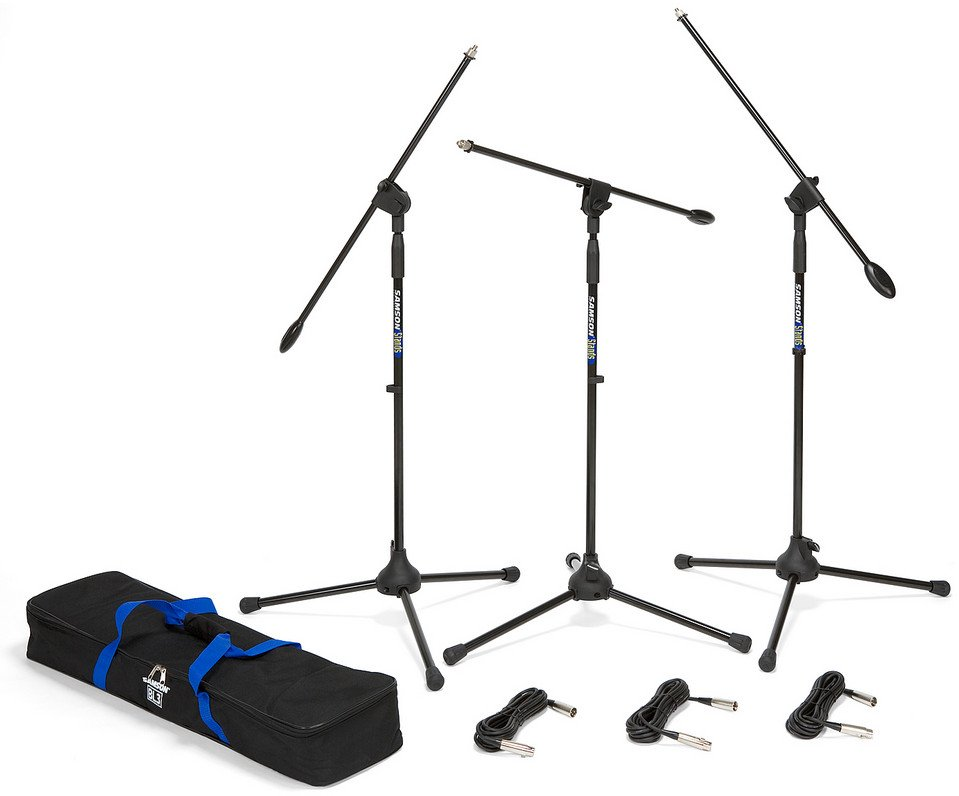 Boom Microphone Stand and 18 ft XLR Cable 3-Pack with Carry Bag