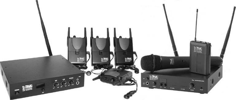 Assistive Listening System with 4 Body Pack Receivers and 1 Base Station Transmitter, Also Includes UHF-6400/HH System with 64 Channel Base Station Receiver and Handheld Microphone Transmitter