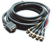 Kramer C-GM/5BF-1 VGA Male to 5 Breakout BNC Cable, 1ft. C-GM/5BF-1