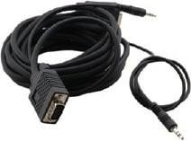 15-Pin HD Male to Male + Audio Micro VGA Cable, 15 ft.