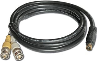 4-Pin S-Video Male to 2 BNC Female Breakout Cable, 1 ft.