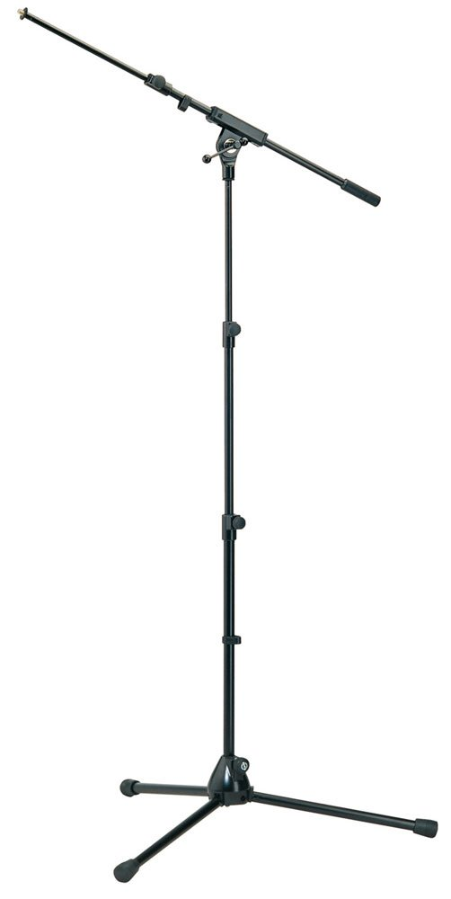 "24""-58"" 3-Level Microphone Stand with 19""-31"" Telescoping Boom in Black"